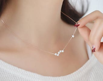 Dainty 925 Sterling Silver Chain Necklaces cubic zirconia Star Pendants&Necklaces minimalist