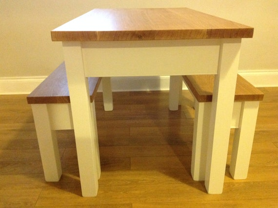 Strange Farmhouse Solid Wood Handmade Table And Benches With Oak Tops And Painted Legs Evergreenethics Interior Chair Design Evergreenethicsorg