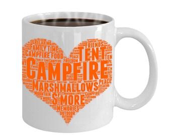 Camping Heart Love Word Art Funny Gift Mug