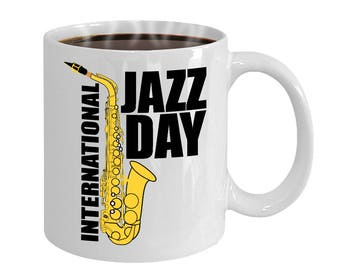 Jazz Lovers Saxophone International Jazz Day Gift Mug
