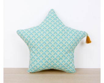 Aqua Scandinavian print star cushion