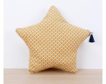 Golden honey Scandinavian print star cushion