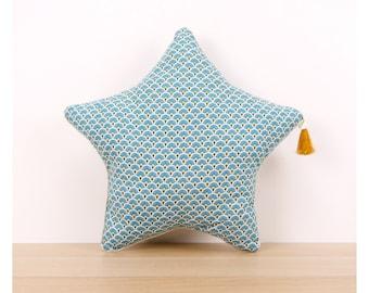 Blue Peacock Scandinavian print star cushion