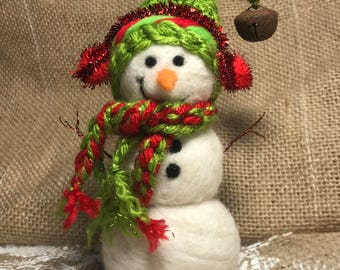 ON SALE!! Need Felted Snowman, Wool Snowman, Collectable Winter Decoration, Reg Price 40.00 - on sale for 29.00