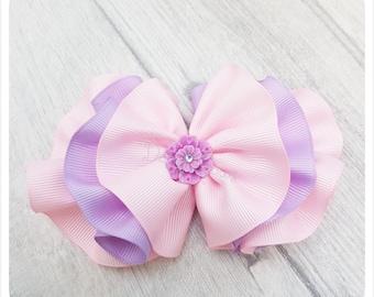 Ruffle bow, ribbon bow, girls hair clip, pink bow