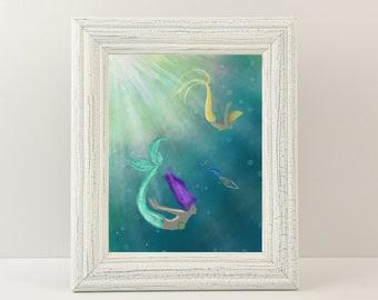"Mermaid Giclée Print - Print titled ""Diving Practice"" Mermaid Wall Art. Fine art print of three mermaids diving in a sunny sea!"