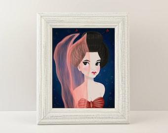 """Mermaid Giclée Print - Print titled """"Geisha Mermaid"""" Mermaid Wall Art. Fine art print of a mermaid dressed up as a Geisha!"""