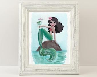 "Mermie Giclée Print  - Titled ""Cinco De Mayo Mermaid,"" Latina Mermaid Wall Art. Fine art print of a happy Mermaid relaxing."