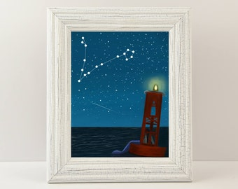 """Mermaid Giclée Print - Print titled """"Stargazer Mermaid"""" Mermaid Wall Art. Fine art print of a mermaid on a buoy looking at the stars!"""