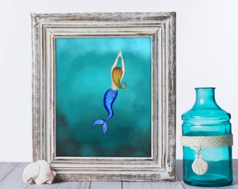 """Mermaid Giclée Print - Print titled """"Vast Ocean Mermaid"""" Mermaid Wall Art. Fine art print of a blonde mermaid swimming in the deep blue!"""