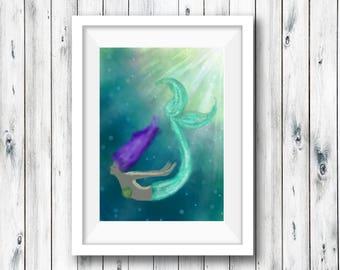 "Mermaid Giclée Print - Print titled ""Impressionist Mermaid"" Mermaid Wall Art. Fine art print of a purple-haired mermaid!"