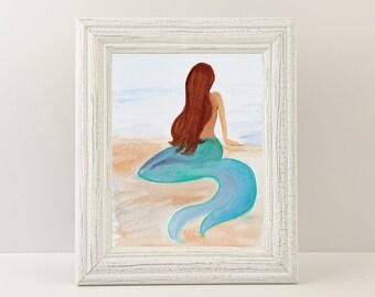 "Mermaid Giclée Print - Print titled ""Sunbathing Mermaid"" Beach Wall Art. Fine art print of a watercolor painting, pastel seaside decor."