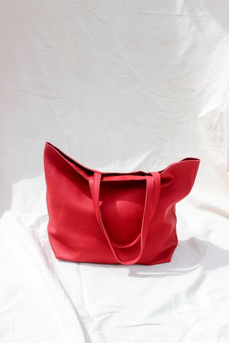 5625b792a Red Leather tote bag CUSTOM Classic minimal Tote Bag Custom | Etsy