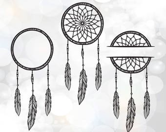 Dream Catcher Svg Cut Files Monogram Frame Mandala Feathers File Designs Dreamcatcher Clipart