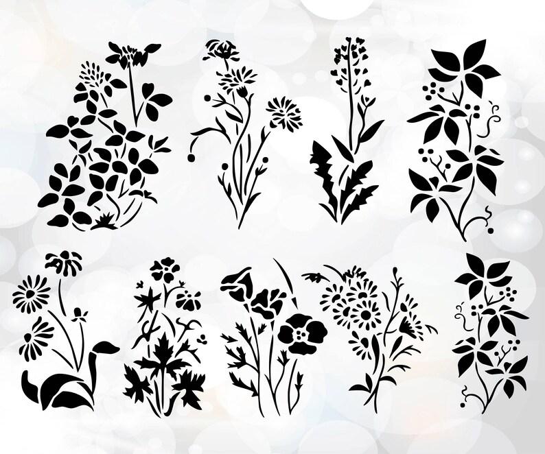 Hand Drawn Flower Pack Flower Silhouette Clip Art Set