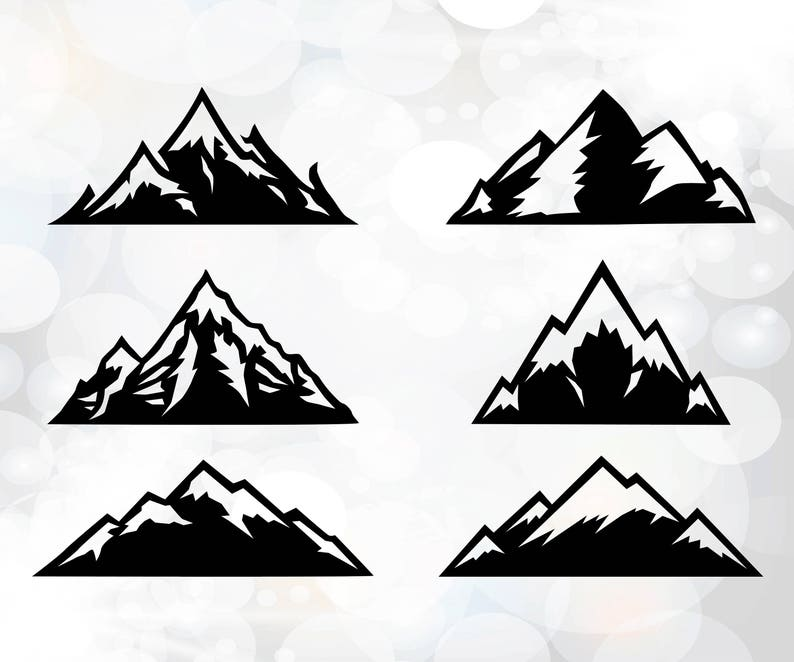 Mountain Svg Mountain Clipart Silhouette Cut Files | Etsy