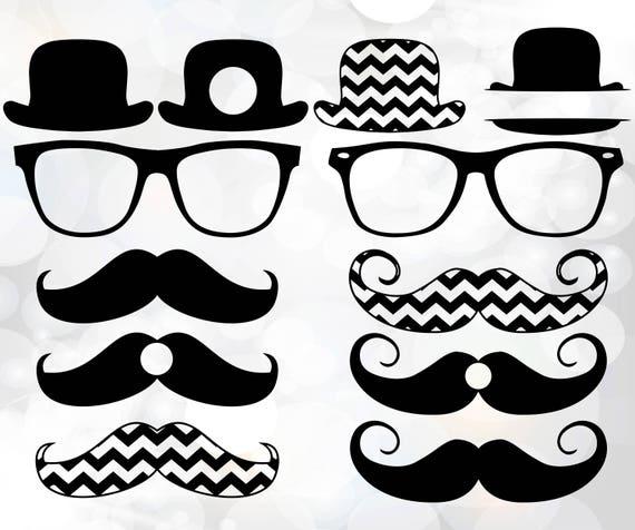Mustache svg hat monogram frames svgHipster icons svg cut | Etsy