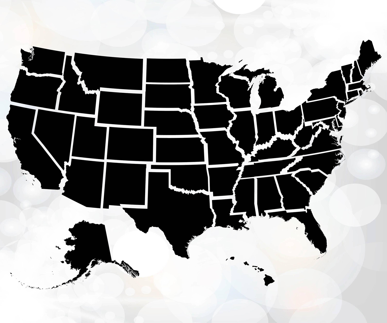 United States Map Svg.Usa Map Svg States Svg Usa Svg United States Of America Etsy