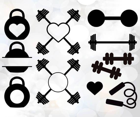 Gym Weights Svg Gym Svg Gym Monogram Frames Cut Files For Etsy