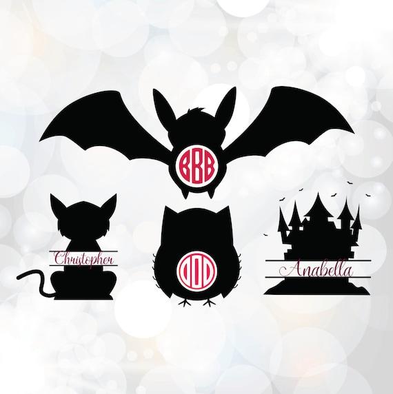 Halloween Monogram Svg Bat Cat Owl House Monogram Clipart Etsy