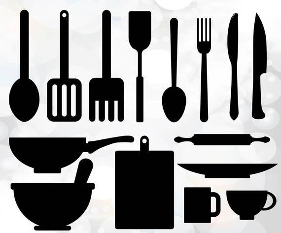 Utensilios De Cocina Svg Utensilios Vector Archivo Digital Etsy