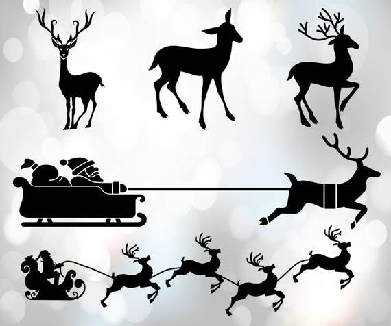 Rentier Svg Dateien Santa Claus Clipart Weihnachten Etsy