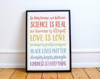 In This House, We Believe // Digital Print // Love is Love // Black Lives Matter // Digital Download // Rainbow // Social Justice