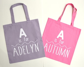 Personalized tote bag, Is For Tote Bag, Child Tote Bag, Child Gift, Preschool Bag, School Bag, tote bag, diaper bag, Kids tote, kids bag