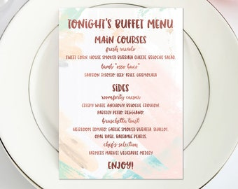 Wedding Menu / Buffet Menu / Event Menu / Plated Menu / Menu for Weddings / Menu for Events / Dinner Menu / Rose Gold / Watercolor