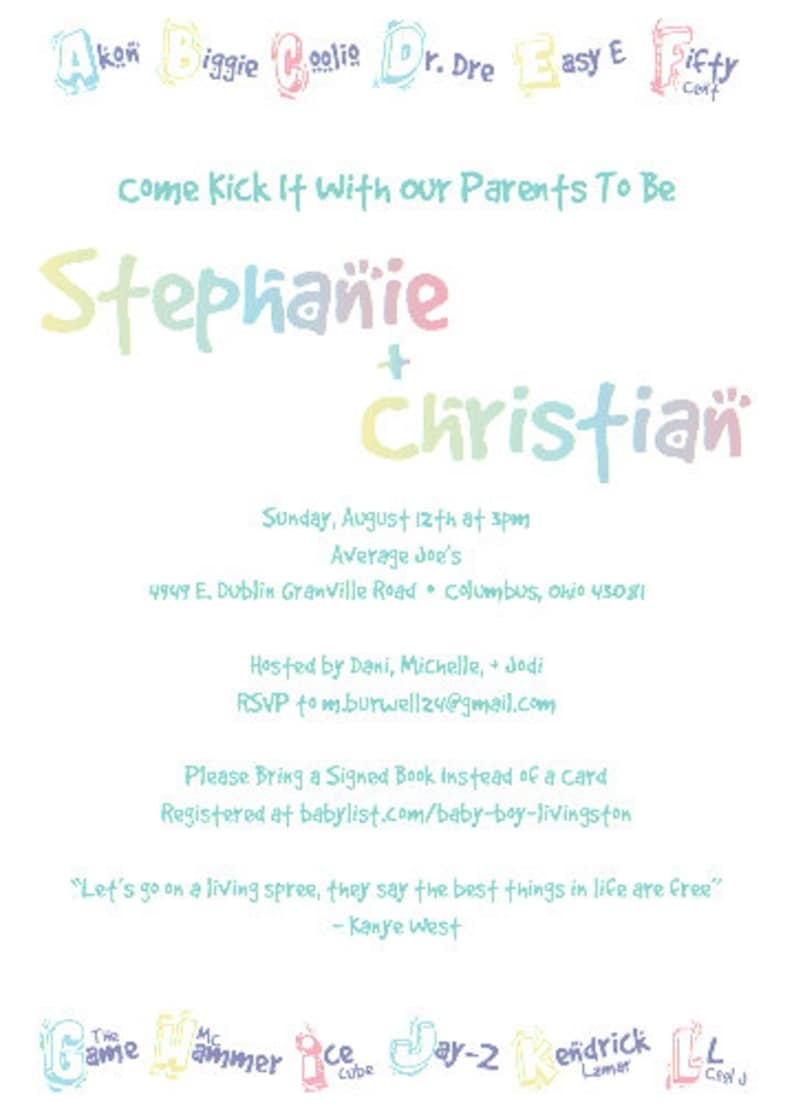 Baby Shower Invitation DIGITAL DOWNLOAD  Party Invitation  Baby Invitation  Hip Hop R/&B  Baby  Pregnant  Mother-to-be  Invitations