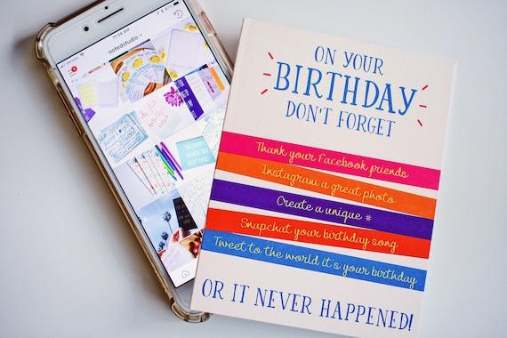Social Media Happy Birthday Greeting Card Funny