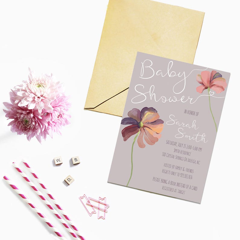 Baby Shower Invitation DIGITAL DOWNLOAD / Party Invitation / image 0