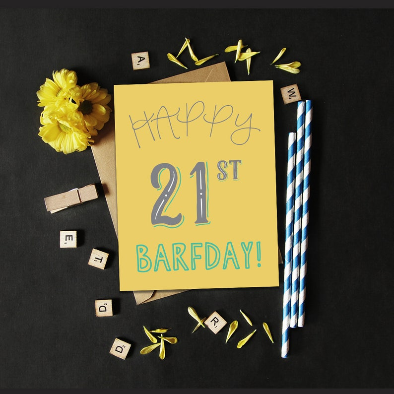 Happy 21st Barfday Greeting Card / 21st Birthday Card / Funny image 0