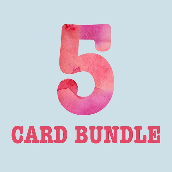 5 Card Bundle Greeting Cards Discount Mix And