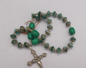 Aqua and Green Beads, Turquoise and Green, Devotional Aid, Prayer Beads, Anglican Rosary, Christian Prayer Beads, Protestant Gift, Episcopal