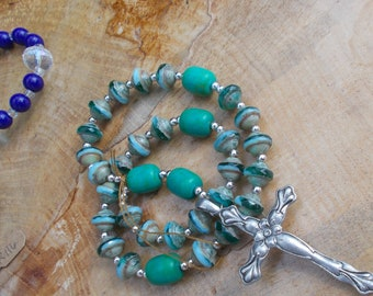 Green Turquoise Satellite Beads, Metal Cross, Devotional Aid, Prayer Beads, Anglican Rosary, Christian, Protestant, Episcopal, For Her