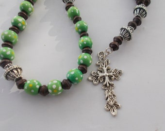 Anglican Rosary | Rosary | Wood Beads | Glass Beads |Cross | Religious Gift | Gift Rosary | Prayer Beads | Anglican Prayer Beads, Christian
