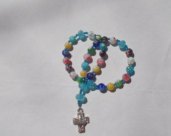 Flower Devotional Aid, Protestant Prayer Beads, Beaded Anglican Rosary, Christian Gift, First Communion Gift, Baptism Gift, Religious Gift