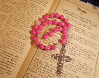 Bright Pink Devotional Aid, Rosary Prayer Beads, Beaded Rosary, Prayer Focus, Christian Gift, First Communion Gift, Baptism Gift