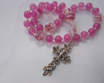 Pink on Pink , Devotional Aid, Rosary Prayer Beads, Beaded Rosary, Prayer Focus, Christian Gift, First Communion Gift, Baptism Gift