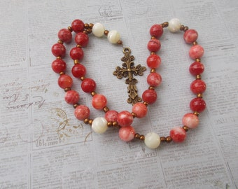 Red Quartzite Devotional Aid,  Prayer Beads, Episcopal Rosary, Prayer Focus, First Communion Gift, Baptism Gift, Gift for Her or Him, Christ