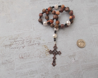 Leopard Jasper Devotional Aid, Rosary Prayer Beads, Beaded Rosary, Prayer Focus, Christian Gift, First Communion Gift, Baptism Gift