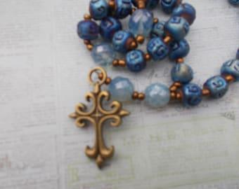 Royal Blue Beads, , Devotional Aid, Rosary Prayer Beads, Beaded Rosary, Prayer Focus, Christian Gift, First Communion Gift, Baptism Gift