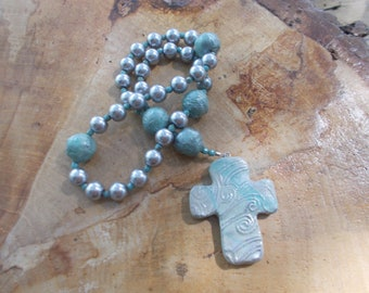 Aqua Rosary, Devotional Aid, Rosary Prayer Beads, Beaded Rosary, Christian Gift, Gift for Her, First Communion Gift, Baptism Gift