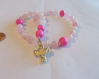 Pink Devotional Aid, Rosary Prayer Beads, Beaded Rosary, Prayer Focus, Christian Gift, First Communion Gift, Baptism Gift
