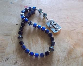 Blue Lazurite Gemstone, Devotional Aid, Rosary Prayer Beads, Beaded Rosary, Christian Gift, First Communion Gift, Baptism Gift