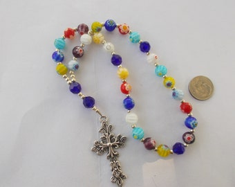 Mixed Colors Rosary, Devotional Aid, Rosary Prayer Beads, Beaded Rosary, Prayer Focus, Christian Gift, First Communion Gift, Baptism Gift