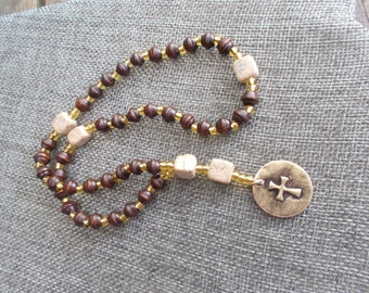 Anglican Rosary | Rosary | Masculine Rosary | Religious Gift | Prayer Beads | Anglican Prayer Beads | Wooden and Sandstone Beads |