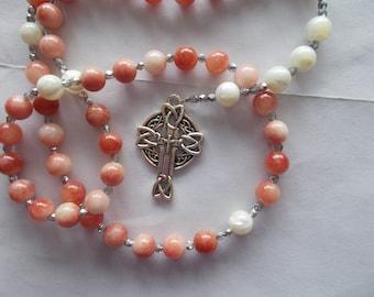 Cherry Agate Rosary, Devotional Aid, Rosary Prayer Beads, Beaded Rosary, Prayer Focus, Christian Gift, First Communion Gift, Baptism Gift