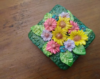 Tin Box, Keepsake Box, Hand decorated tin box, Summer Flowers decorated box, Home decor, Gift, All Ocassion Gift, Christmas Gift, Mother Day